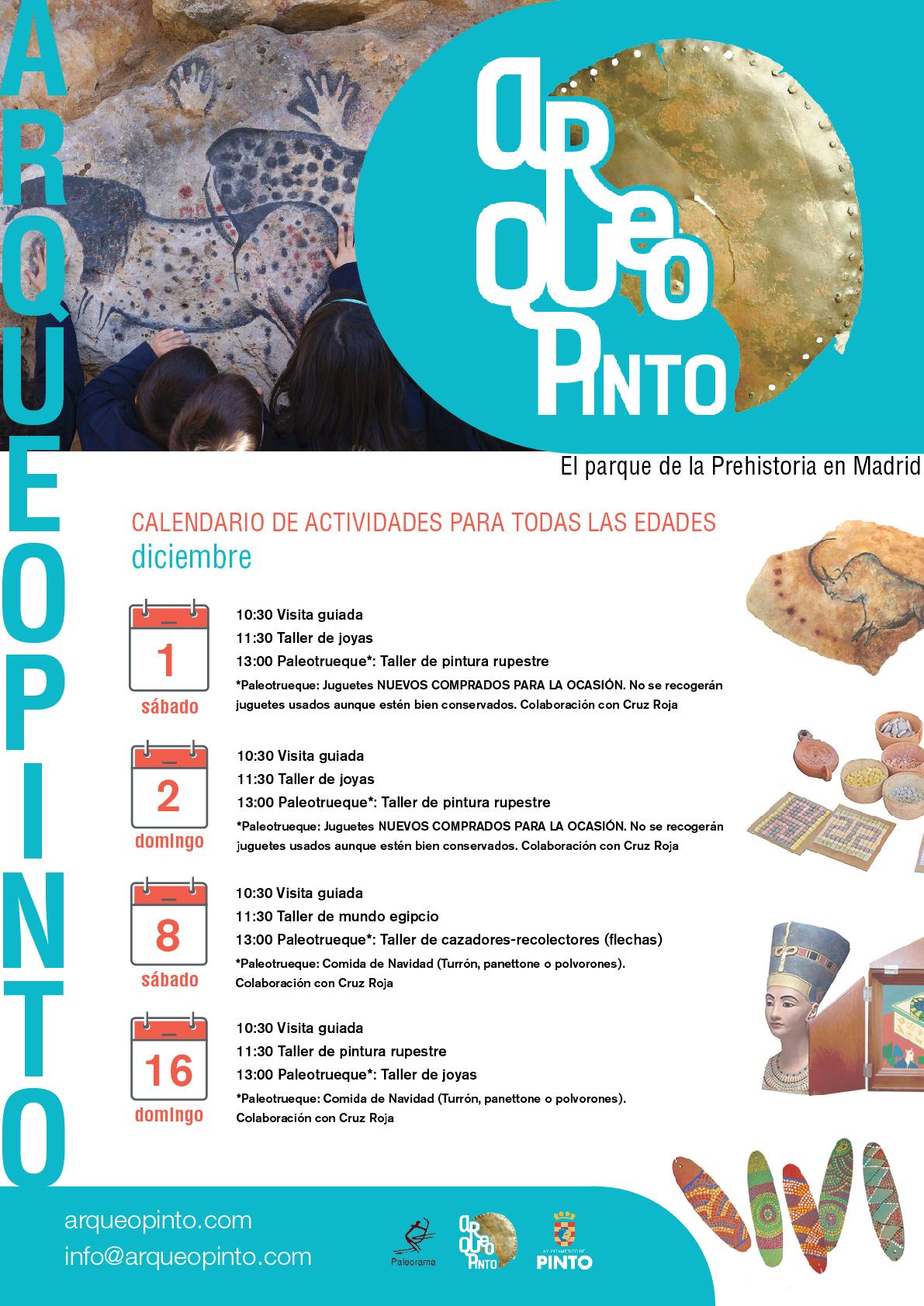 Actividades fines de semana Arqueopinto diciembre 2018